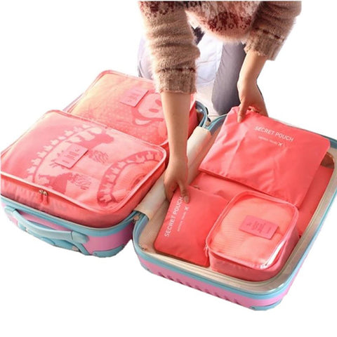 Unisex Packing Cube Travel Bag System Nylon Large Capacity Clothing Sorting Organize 6pcs/set