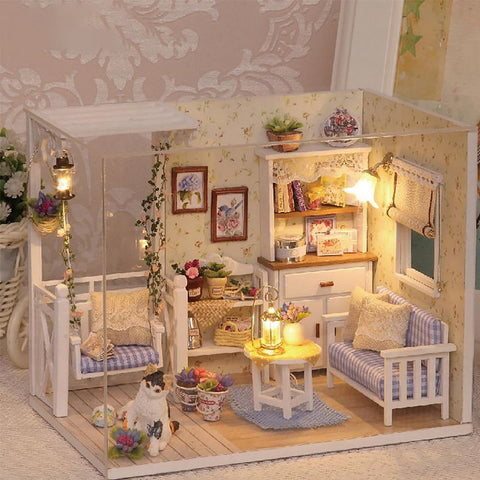 Miniature Doll House Toy Wooden 3D Dust Cover