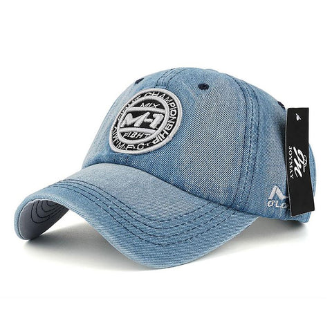 Unisex All Ages Baseball Cap Denim Jean Badge Embroidery