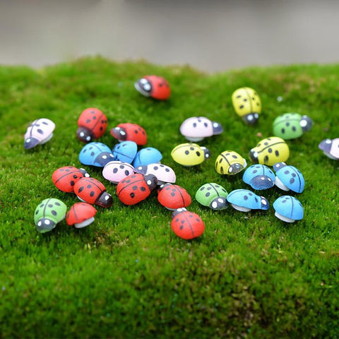 100pcs/pack Mini Wooden Ladybug Sponge Self-adhesive Stickers Fridge Magnets for Scrapbooking Micro Landscape Decor