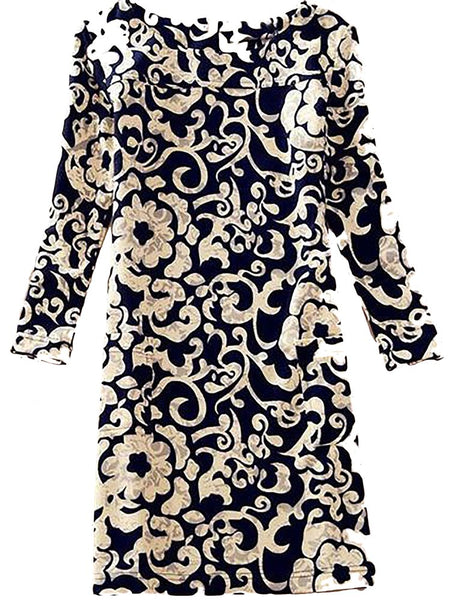 Women's Dress Floral Regular Long Sleeves Above Knee Casual Straight Silhouette