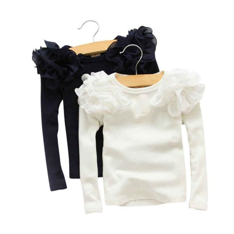 2017 Spring Fashion New Domeiland Baby Girls Clothing Cute Lace Long Floral Sleeve Blouse Ruffle Tops