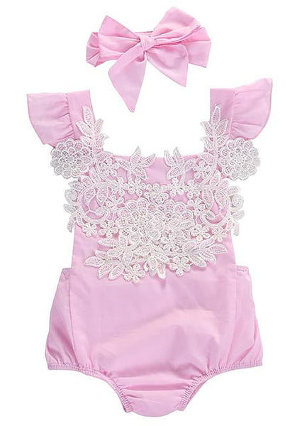 Cute Newborn Baby Girls Bodysuit Lace Floral Pink Jumpsuit+Headband Outfits Sunsuit Clothes