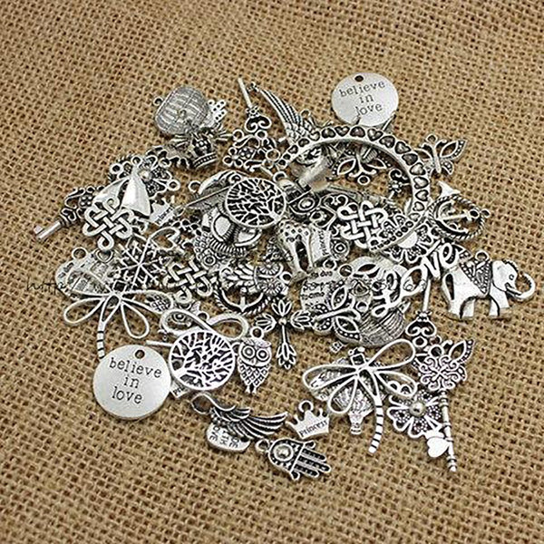 PULCHRITUDE 100pcs/lot Mixed Antique Silver European Bracelets Charm Pendants Jewelry Making Findings DIY Charms Handmade 345