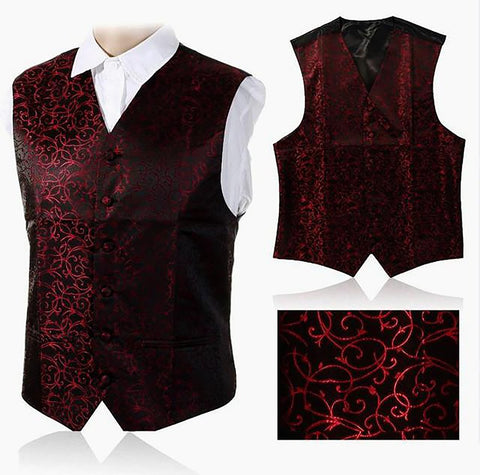 GUSLESON 2017 New Arrivel Mens Waistcoats Slim Fit Men Vest Suit Paisley Coletes Chaleco Hombre For Party Wedding