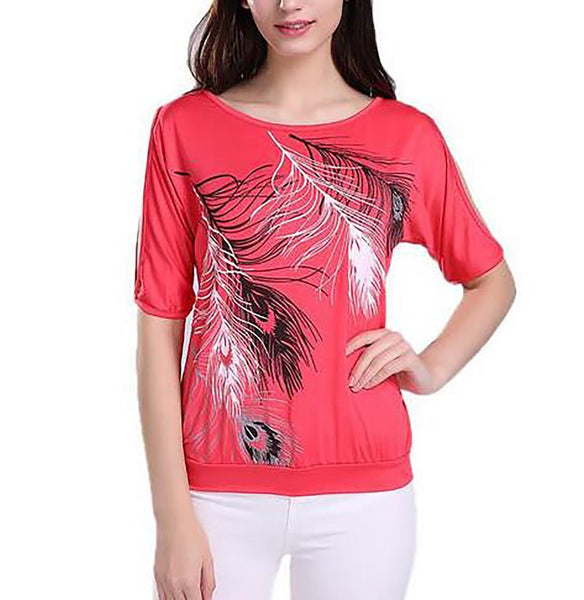 Women's T-shirt Regular Loose O-neck Off-Shoulder Short Sleeves Feather Printed