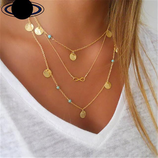 Women's Coins Necklace Leaves Triangle Bar Round Statement Multi Layer Vintage