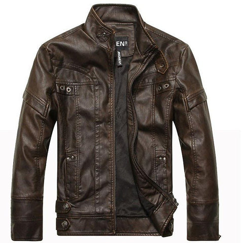 Men's Leather Coat Mandarin Collar Regular Zipper Autumn Winter for Motorcycle Bike