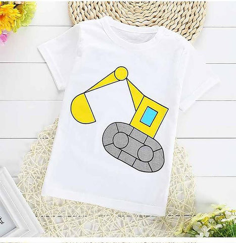 Unisex Kid's 100% Cotton T-shirt Short Sleeve Cartoon Design