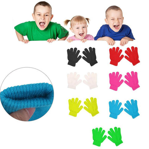 Unisex Kid's Gloves Winter Solid Color Finger Point Stretch Knit