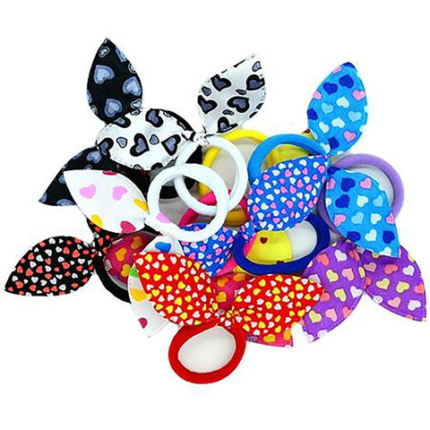 YWHUANSEN 20pcs/lot Rabbit Ears Hair Band Children Accessories Kids Scrunchy Elastic Band for Women Girls Rubber
