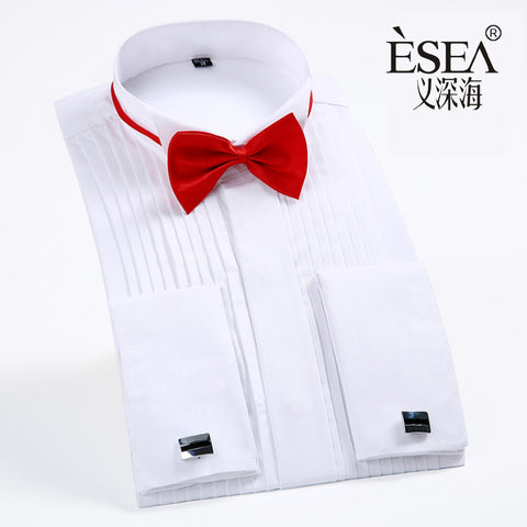 100% Cotton French Cufflinks Shirts Male Long-sleeve Shirt The Groom Wedding Dress Slim Men's Clothing Tuxedo