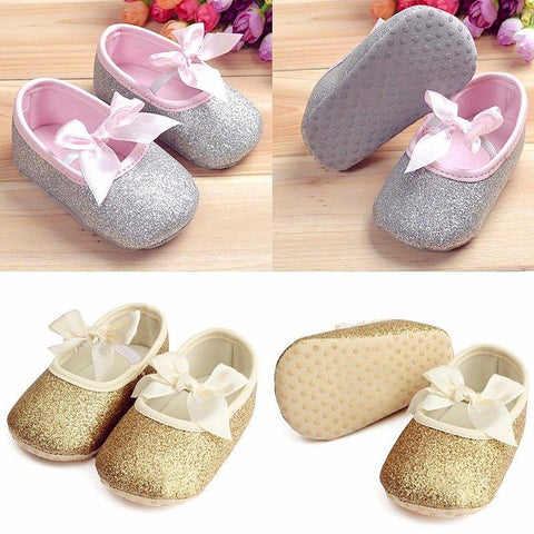 2017 New Baby Kids Girls Toddler Infant Newborn Bowknot Soft Ribbon Antislip Crib Shoes
