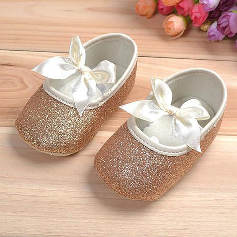Baby Girl's Shoes with Bowknot Soft Ribbon Antislip