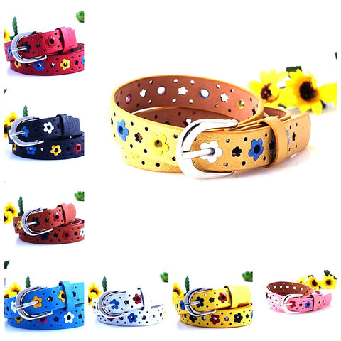 Unisex Kid's Hollow Flower Waistband Faux Leather Silver Buckle