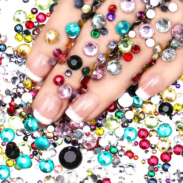 Nail Rhinestone Studs Colorful Crystal Mixed Size Manicure Decoration 2000pcs/bag