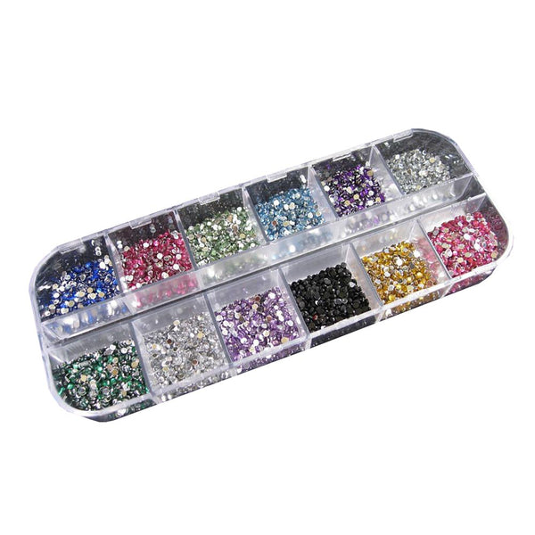 3000pcs 1.5mm Rhinestones Nail Decoration Round Colorful Glitters With Hard Case DIY Art Decorations