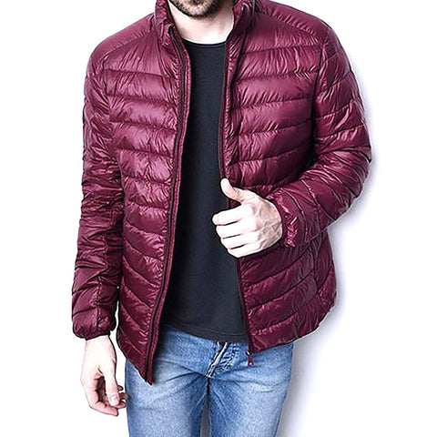 Men's Parka Jacket Winter Ultra Light Waterproof Zipper Thin Wide-waisted