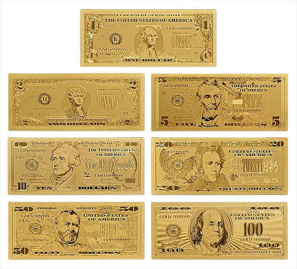 SAE Fortion 24k Gold Banknotes Fake Money USA Foil BillsWorld Paper Collections Currency Crafts Home Decor