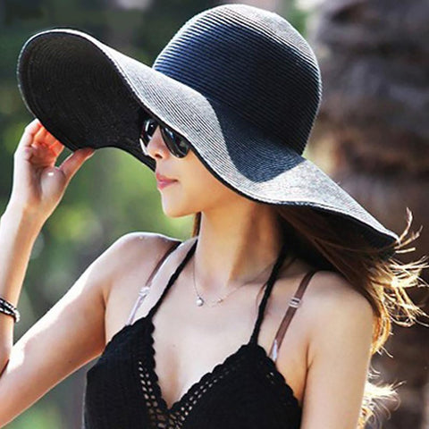 Women's Sun Hat Large Brim Foldable Wide Straw for Summer Vacation Beach