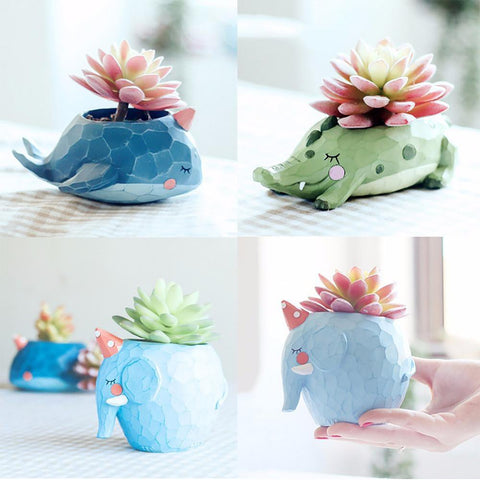 Flower Pot Animal Plant Pots Pote Resina Suculenta Desktop Furnishings Home Office Decoration Sleeping Whale Crocodile Elephant