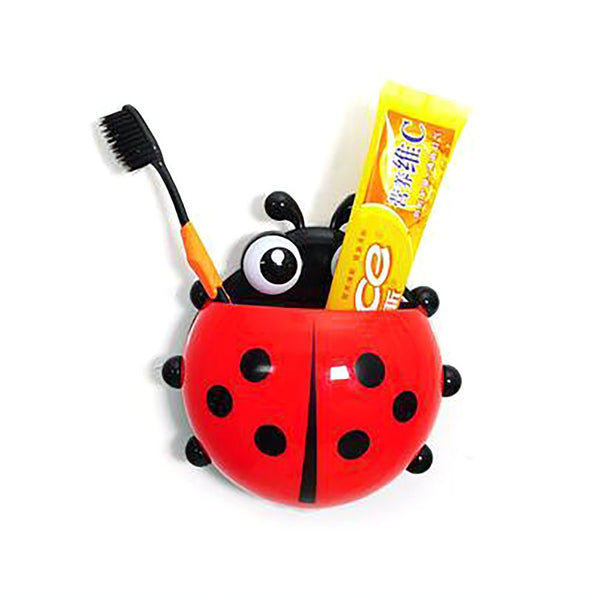 Wall Suction Holder Hook Cartoon Lady Bug Design for Bathroom Toothbrush