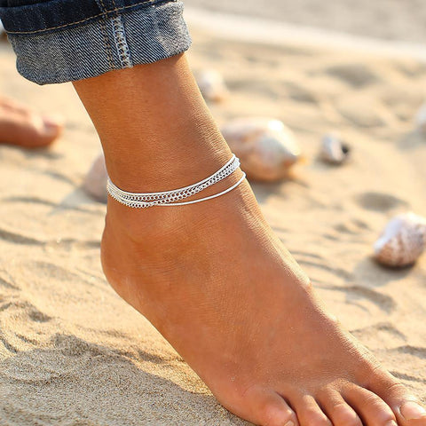 Women's Boho Ankle Bracelet with Big Stone Beads Vintage Foot Jewelry