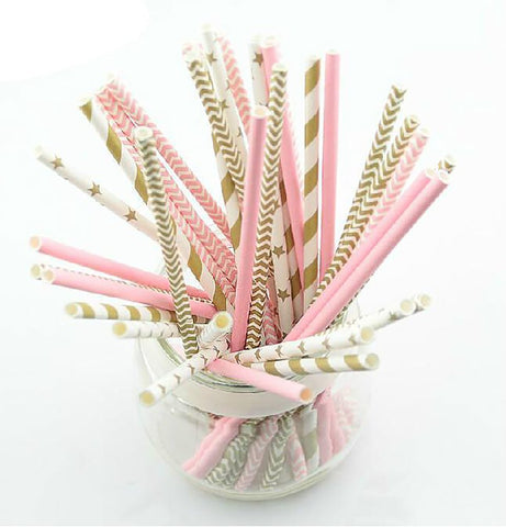 KSCRAFT 25pcs Pink Gold Striped Mixed Kids Birthday Wedding Decorative Party Decoration Event Supplies Drinking Paper Straws
