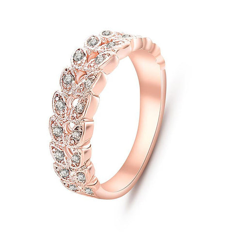 Wedding Ring Gold Concise Classical CZ Crystal Austrian