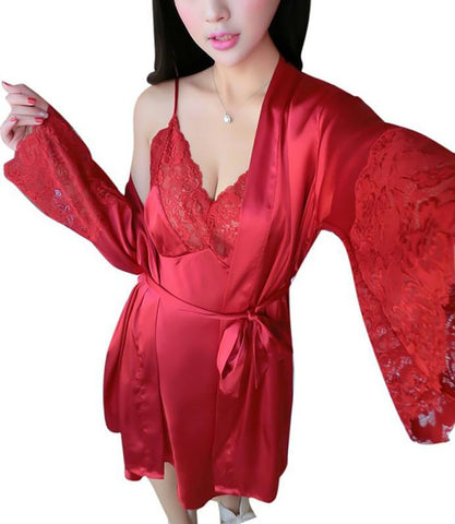 Women's Two Pieces Robe Soft Silk Satin Lace V-neck Nightdress Faux Silk Above-knee Simple Style