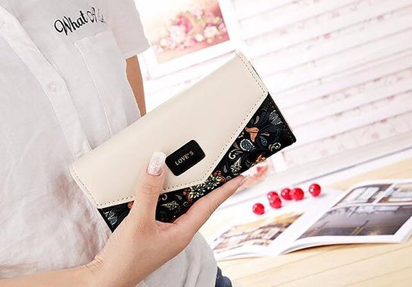 Women's Leather Wallet Long Style for ID Cards Coin