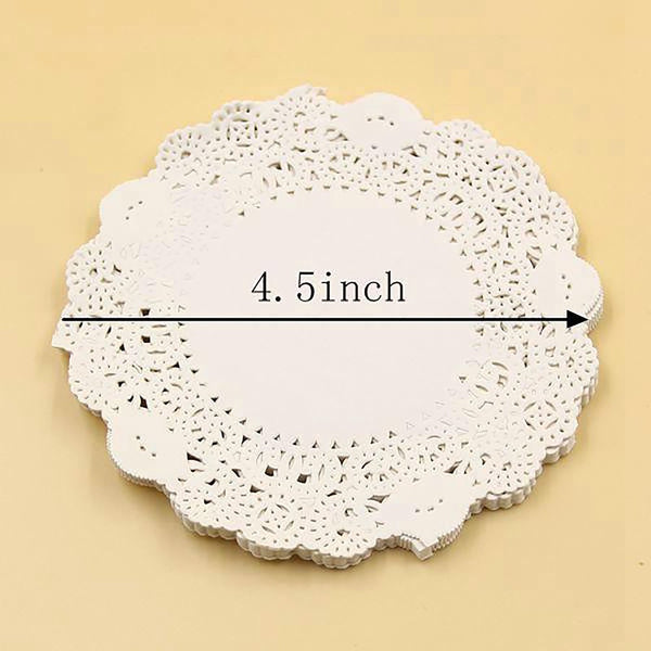 50PCS/Lot 4.5 Inch Eco-Friendly Grease-Proof White Paper Doilies For Home Wedding Christmas Party Table Decoration Cake Holder