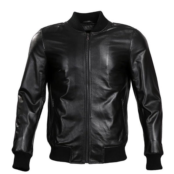 2017 Spring New Fashion Leather Jacket Short Sheepskin Men Classic Men Motorcy Thin