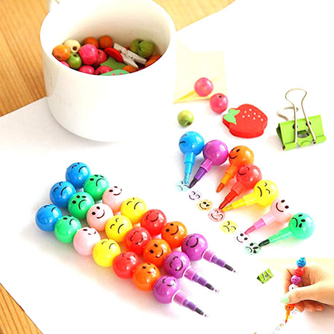7 Colors Creative Sugar-Coated Haws Crayons Cartoon Smiley Graffiti Pen For Kids School Office Supplies Stationery Gifts