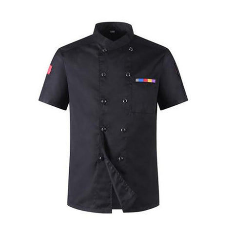 2017 High Quality Chef Uniforms Clothing Short Sleeve Men Food Services Cooking Clothes 5-color Big Size Uniform Jackets
