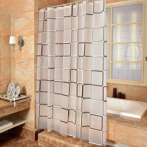 Shower Curtain with Hood Waterproof Plaid for Home Bathroom Decoration