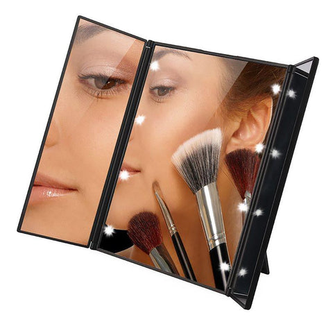 Tri-Fold IlluminatedLED Lighted Vanity Mirror Makeup Wide View Portable Travel Pocket Compact Led P30