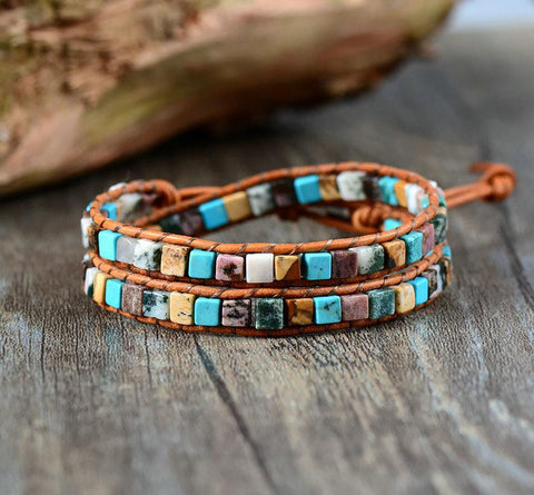 Women's Bracelet Leather Natural Stones 2 Strands Wrap Vintage Weaving Bead