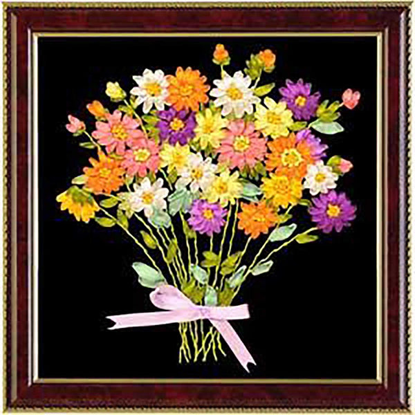 DIY DMC Cross Stitch Kits Sets Handmade Needlework Chinese 3D Ribbon Embroidery Flowers Patterns Rose Cross-Stitching Paintings