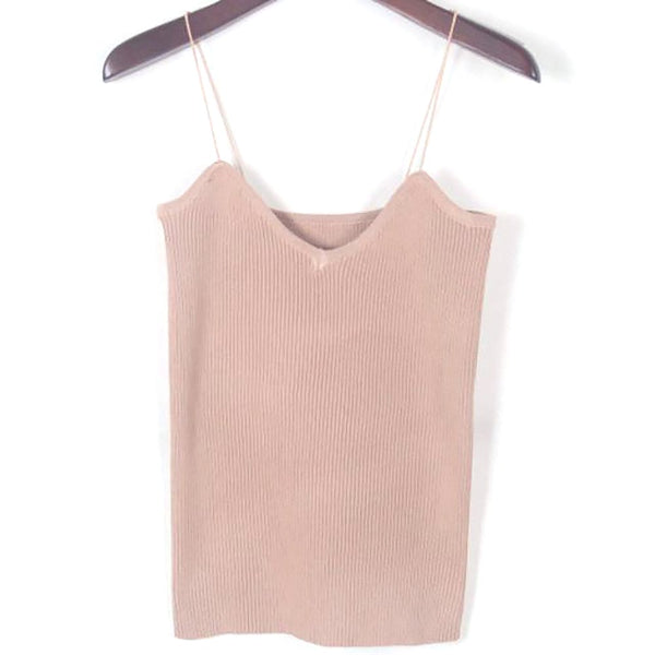 Women's Tank Slim Strappy Knitted Simple Regular Strechtable