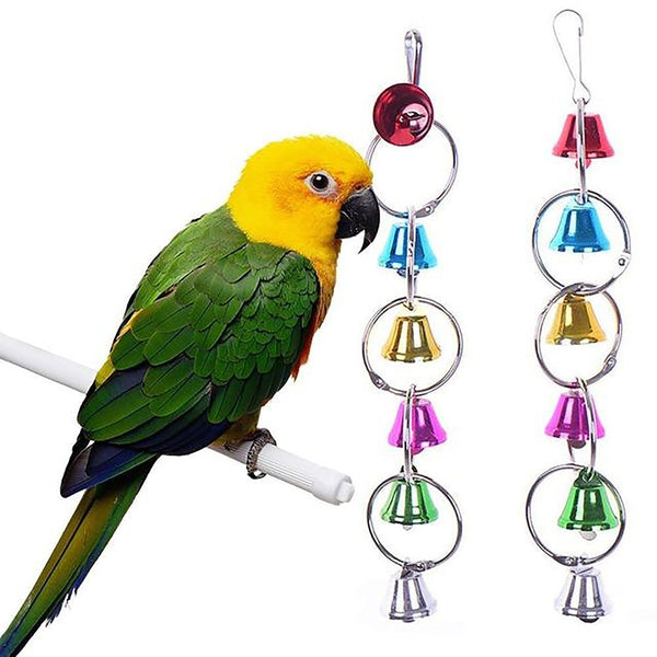 Ring Bell Hanging Cage Metal Toy for Squirrel Parrot Birds Parakeet