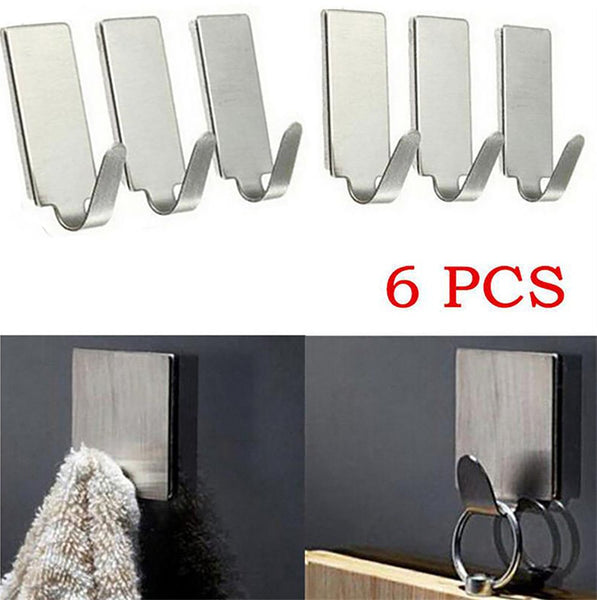 Connorwa Hot Sell 6X round Adhesive Kitchen Wall Door Stainless Steel Stick Hook Hanger