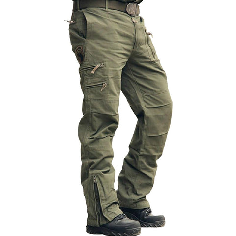 Men's Cargo Pants Tactical Multi Pocket Military Style Airborne Casual Cotton Camouflage Zipper Fly