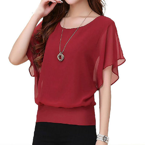 Women's Shirt Chiffon Ruffle Batwing Short Sleeves Regular O-neck Casual