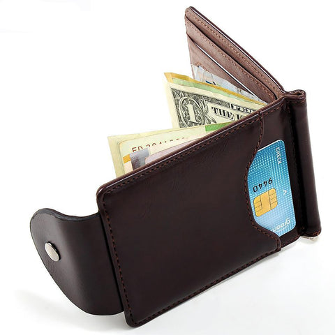 Men's Leather Wallet Vintage Style Money Clips Small Hasp