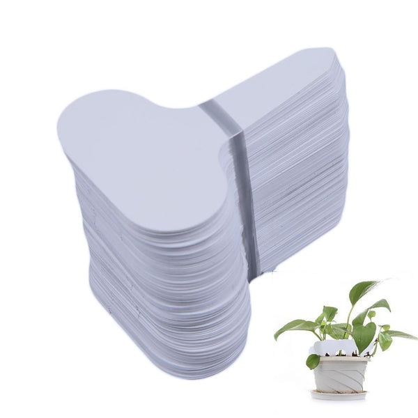 100pcs/set T-type Plastic Nursery Garden Plant Label Thick Tag Mark for Flower Pot White