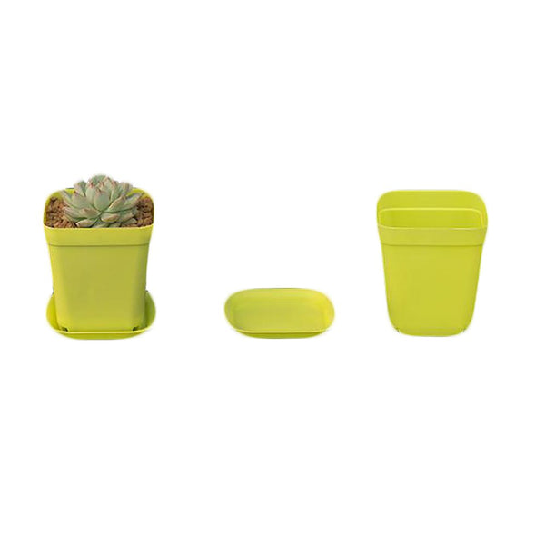 Gardening Mini Plastic Flower Pots+Plastic Tray Vase Square Bonsai Planter Nursery Pots 7 Color Garden Supplies V4604