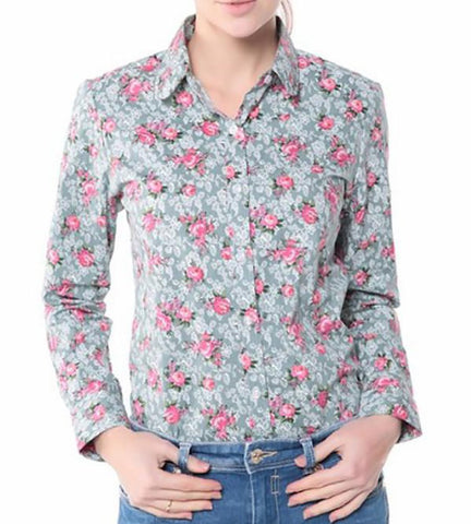 Women's Shirt Floral Regular Cotton Long Sleeve Turn Down Collar Button Decoarted