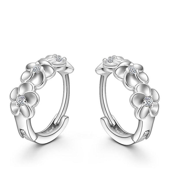 Top Sale 925 Sterling Silver Earring Woven Flowers Shape Hoop Earrings Embed CZ Crystal Pretty For Wedding Accessories
