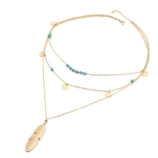 Women's Leaf Chain Necklace Multi Layer Bohemian